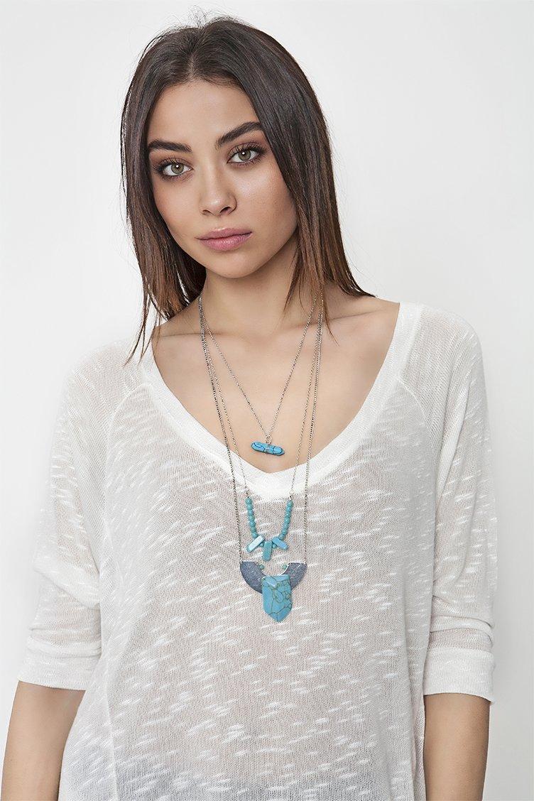Blue Stone Layered Κολιέ - Ασημί