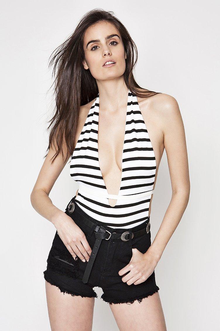 Backless Striped Κορμάκι - Μαύρο