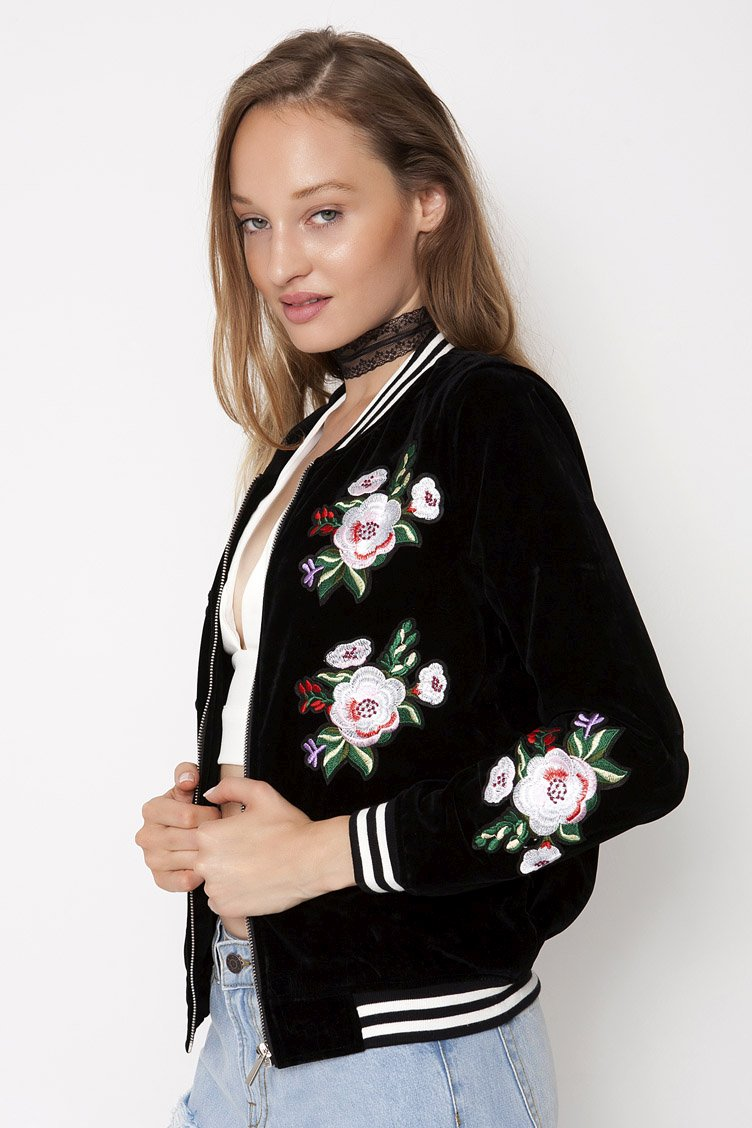 Embroidered Velvet Bomber - Μαύρο