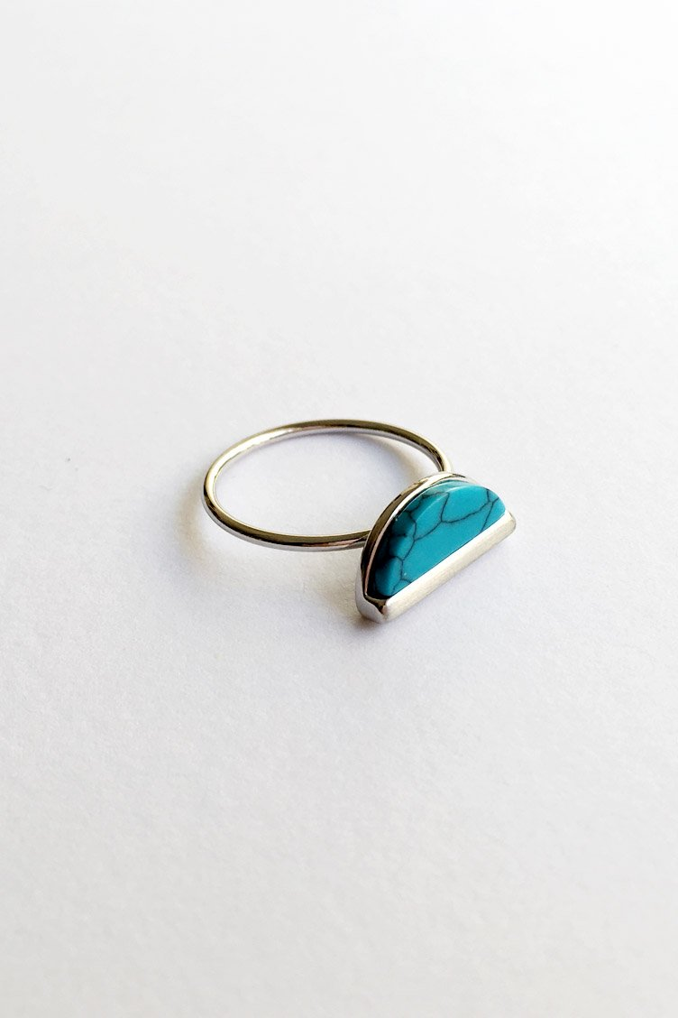 Moon Marble Δαχτυλίδι - Ασημί accessories   κοσμήματα