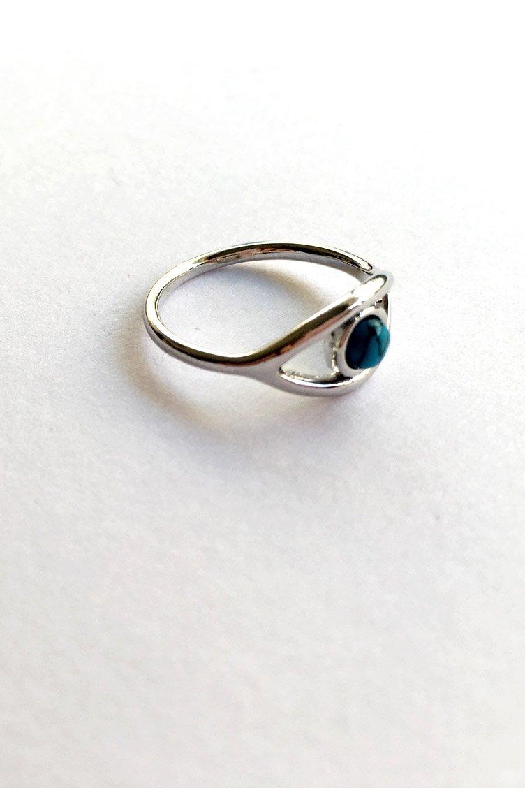 Blue Eye Δαχτυλίδι - Ασημί accessories   κοσμήματα