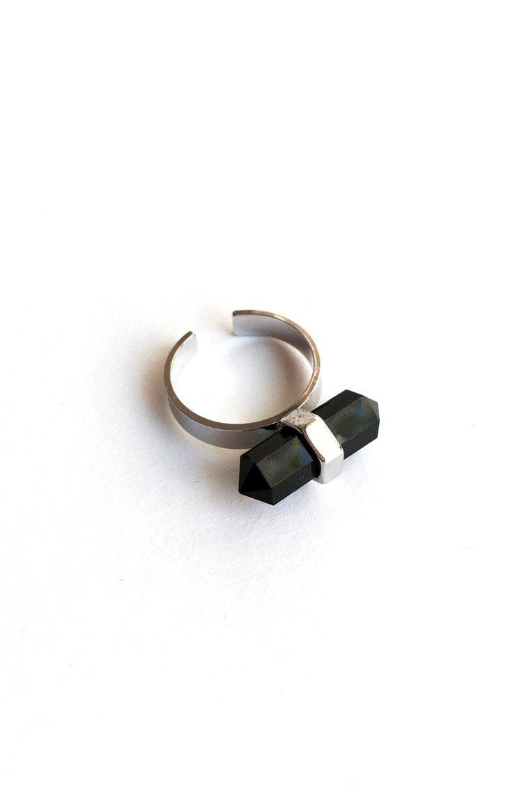 Black Crystal Δαχτυλίδι - Ασημί