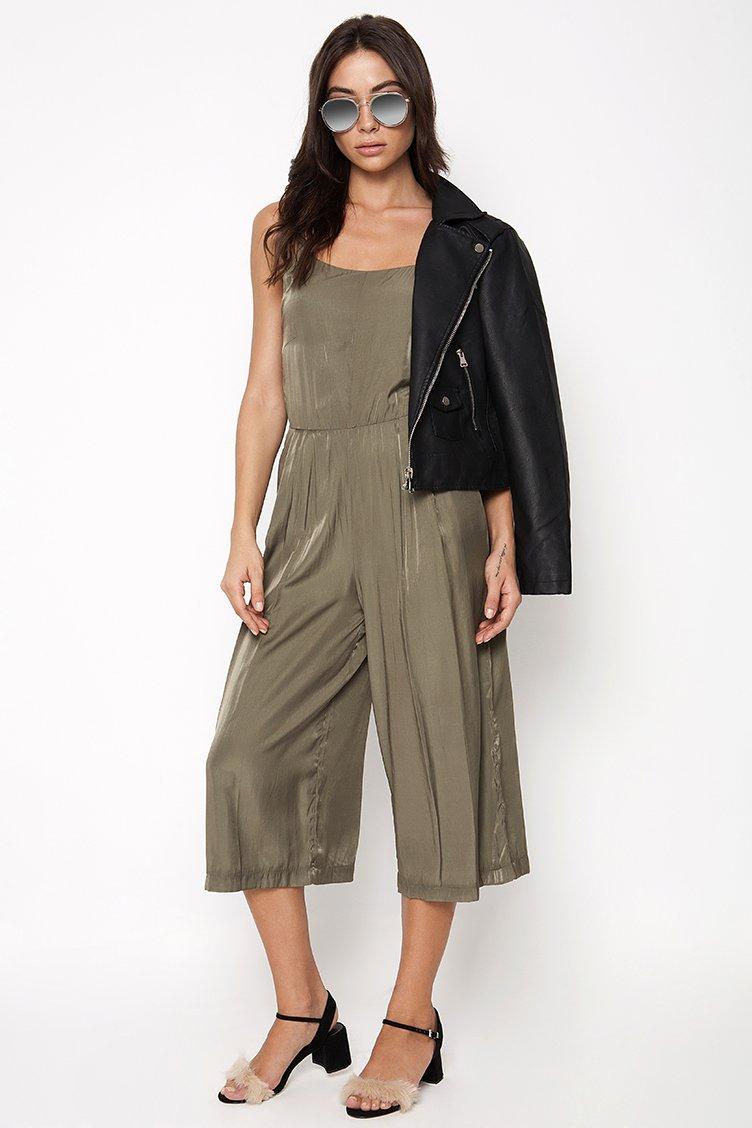 Satin Jumpsuit - Χακί ρουχα   φορέματα   φόρμες