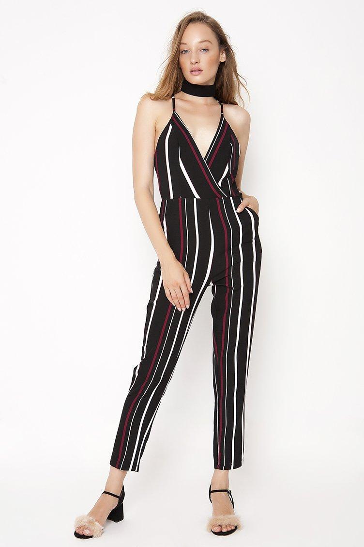 Stripe Wrap Jumpsuit - Μαύρο ρουχα   φορέματα   φόρμες