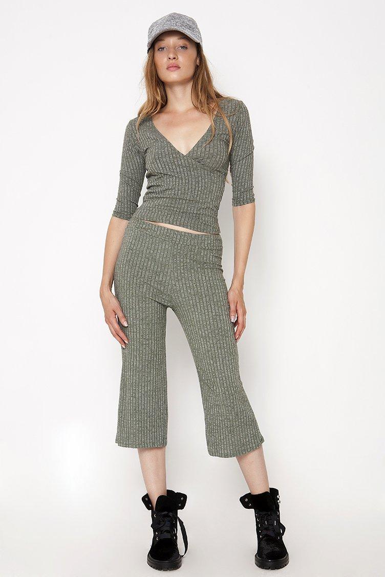 Rib Culotte Παντελόνα - Χακί clothes   παντελόνια