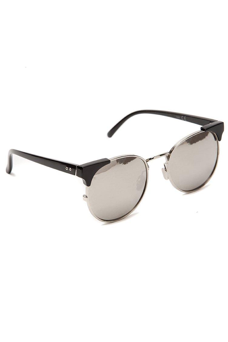 Mirrored Round Shades - Μαύρο accessories   γυαλιά ηλίου