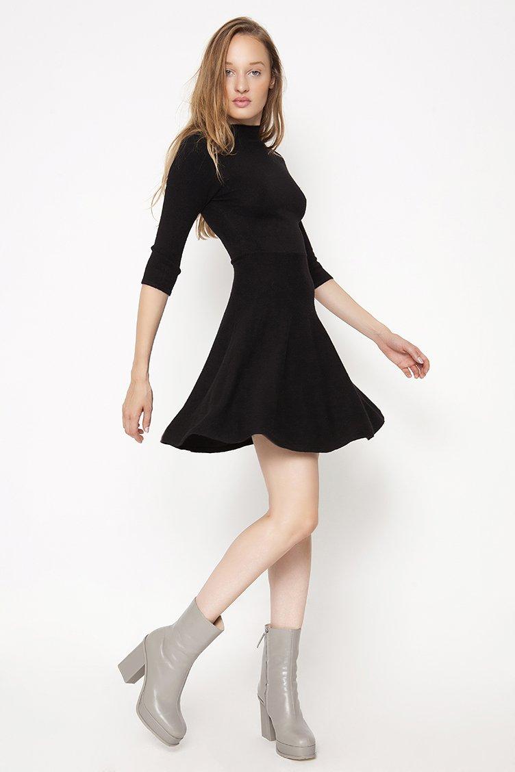 Knit Skater Φόρεμα - Μαύρο