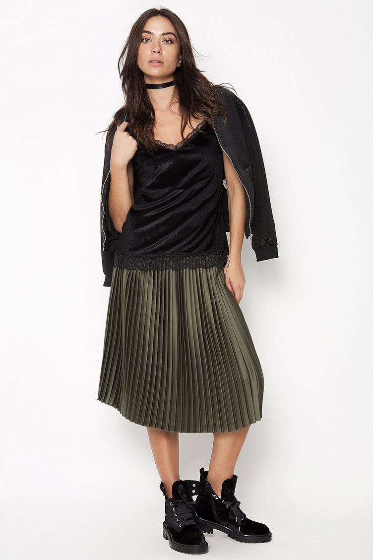 Plisse Satin Midi Φούστα - CLOTHES -  Φούστες  b8f76e3ebc7