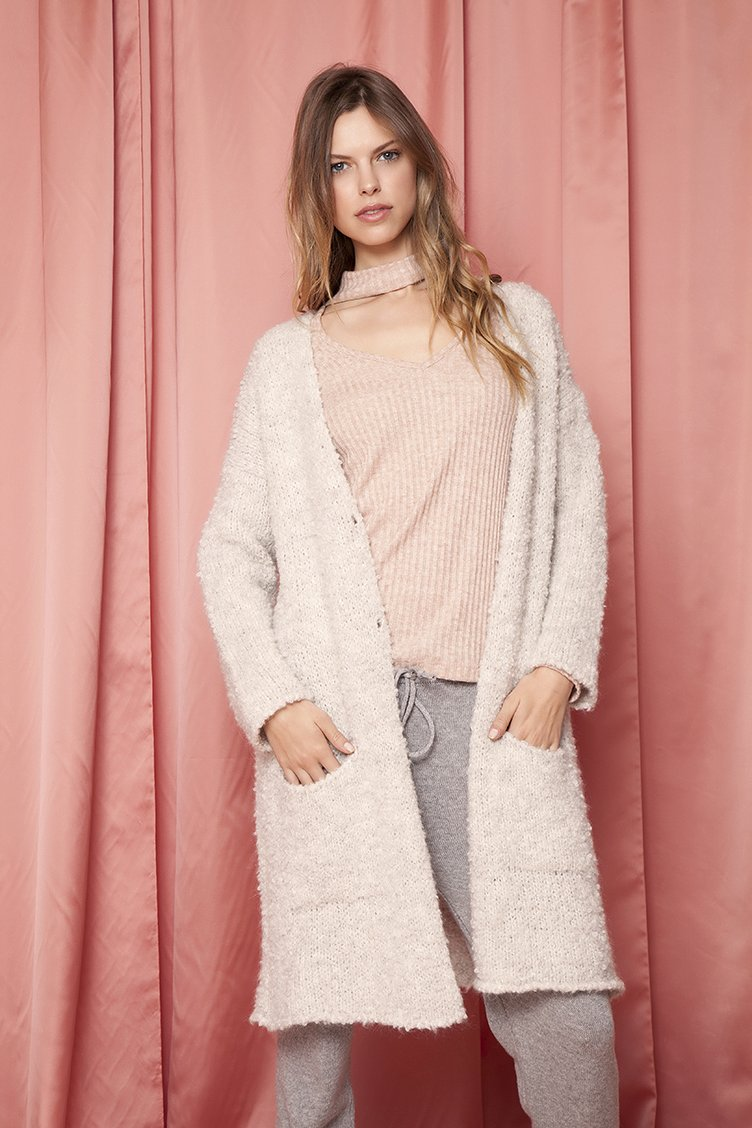 Long Line Fluffy Knit Jacket - Γκρι