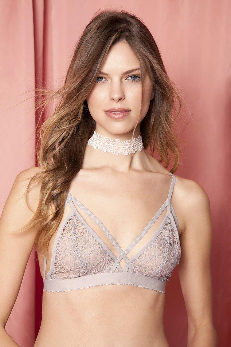 Victoria Gray Strappy Lace Bralette - Γκρι