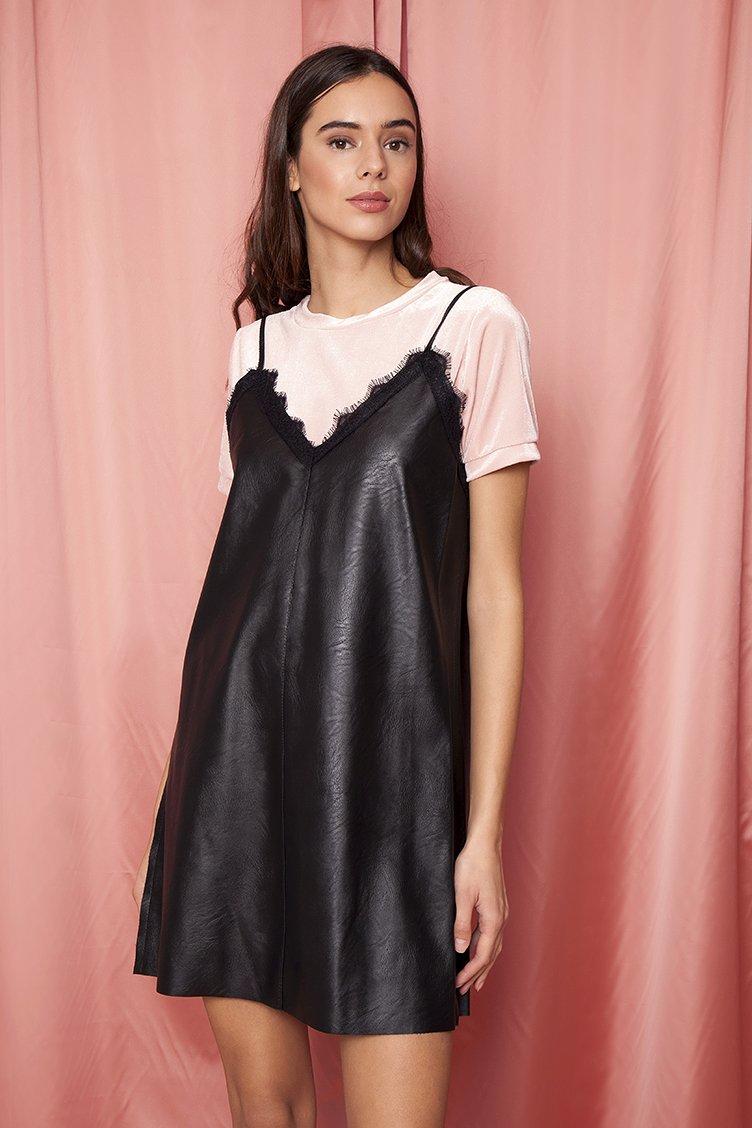 Αποτέλεσμα εικόνας για leather black dress