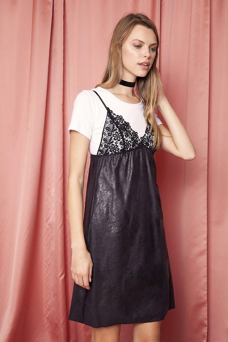 Tow Piece Lace Φόρεμα - Μαύρο clothes   φορέματα   φόρμες