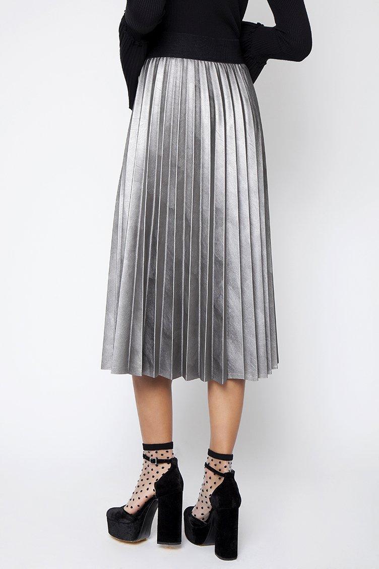 Leather Plisse Midi Φούστα - CLOTHES -  Φούστες  e31195061a8
