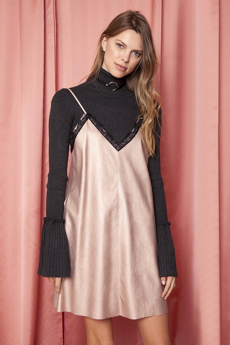 Leather Lace Slip Φόρεμα - Ροζ clothes   φορέματα   φόρμες   mini φορέματα