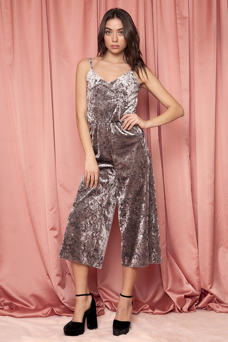 Velvet Cropped Jumpsuit - Γκρι ρουχα   φορέματα   φόρμες