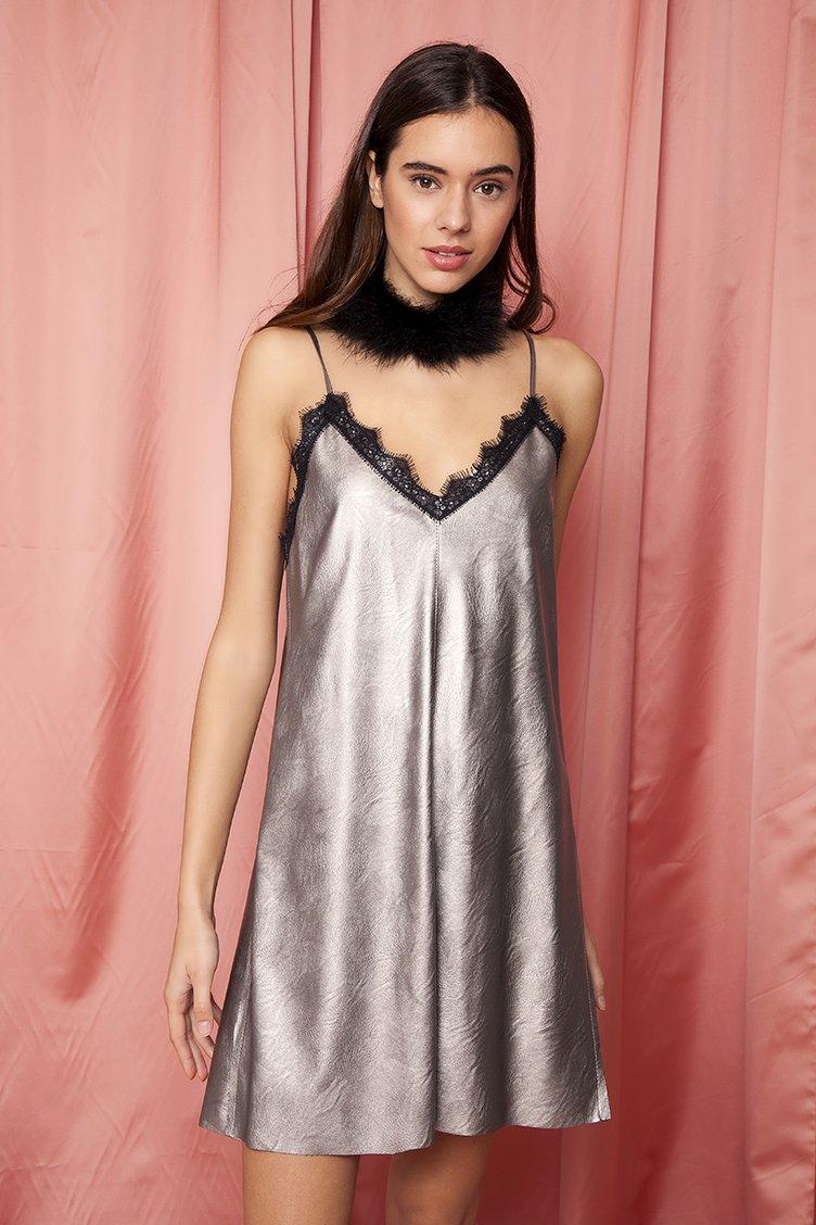 Leather Lace Slip Φόρεμα - Γκρι clothes   φορέματα   φόρμες   mini φορέματα