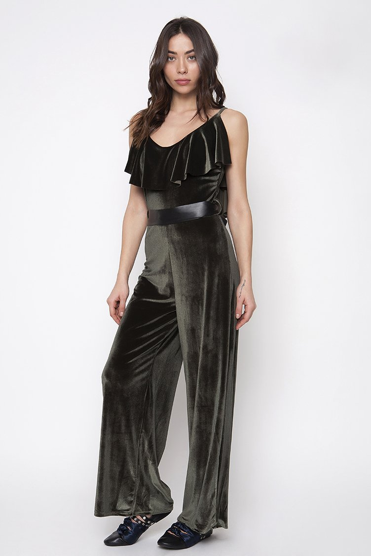 Ruffle Velvet Jumpsuit - Χακί clothes   φορέματα   φόρμες   ολόσωμες φόρμες