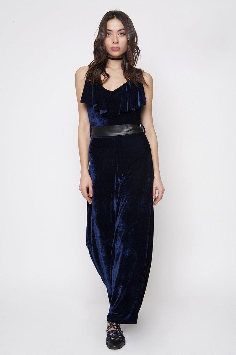 Ruffle Velvet Jumpsuit - Μπλε ρουχα   φορέματα   φόρμες