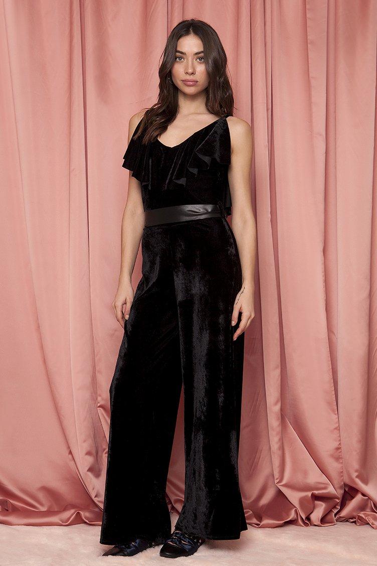 Ruffle Velvet Jumpsuit - Μαύρο clothes   φορέματα   φόρμες   ολόσωμες φόρμες