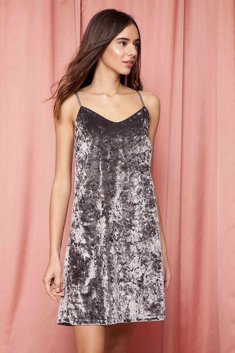 Velvet Crushed Slip Φόρεμα - Γκρι clothes   φορέματα   φόρμες   mini φορέματα