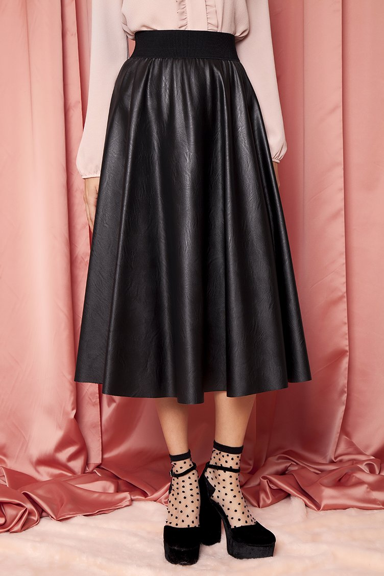 c9023a72f267 Α Line Leather Midi Φούστα - CLOTHES -  Φούστες
