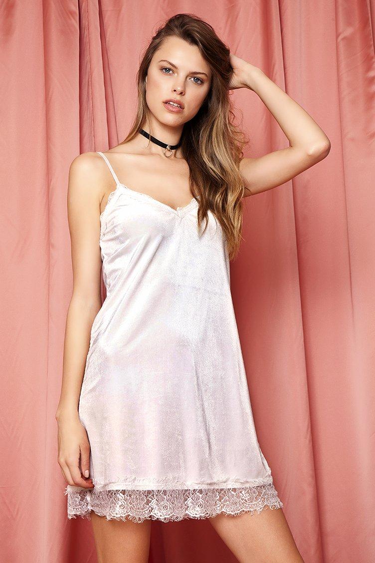 Velvet Lace Slip Φόρεμα - Άσπρο