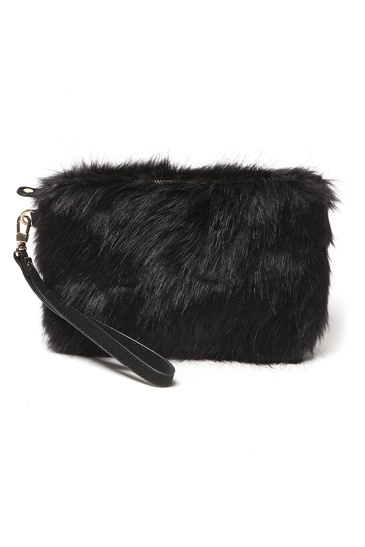 Black Faux Fur Clutch Bag - Μαύρο