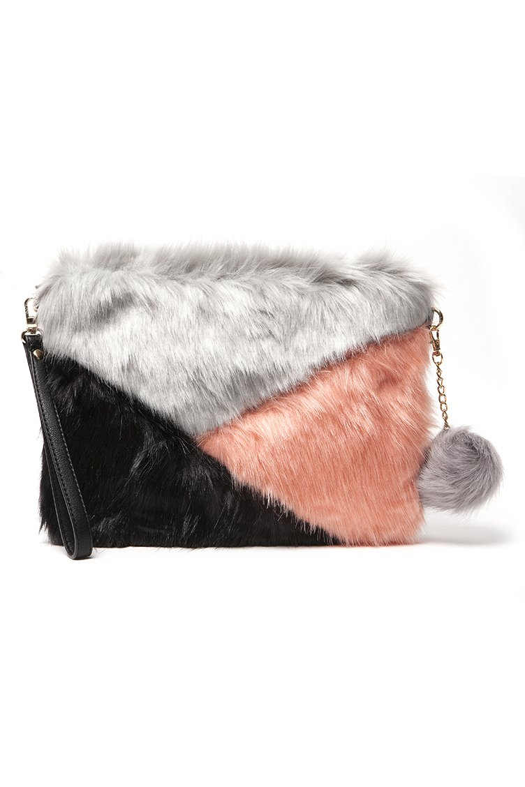 Faux Fur Clutch Bag - Γκρι accessories   τσάντες