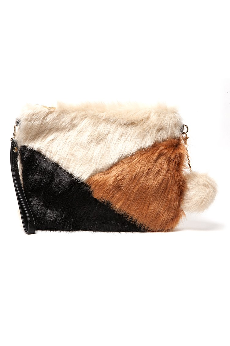 Faux Fur Clutch Bag - Beige accessories   τσάντες