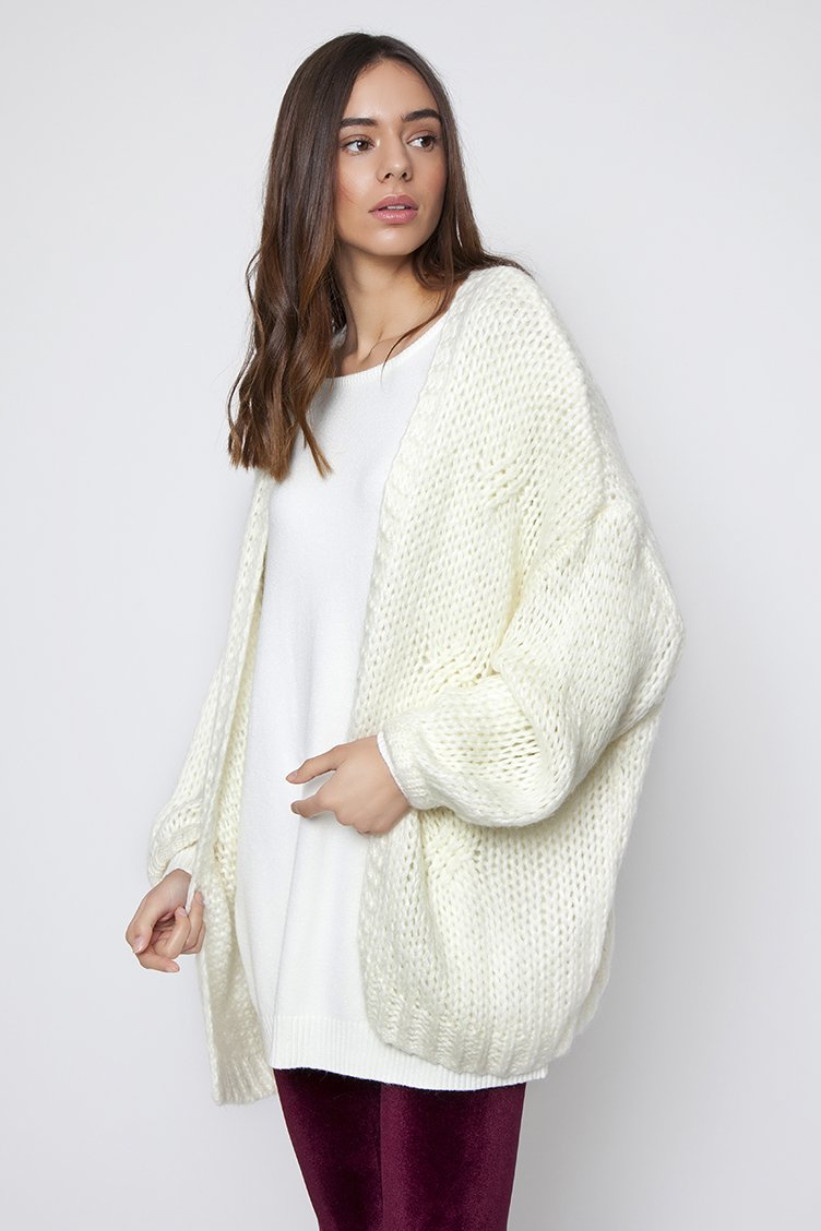 Oversized Knit Jacket - Εκρού