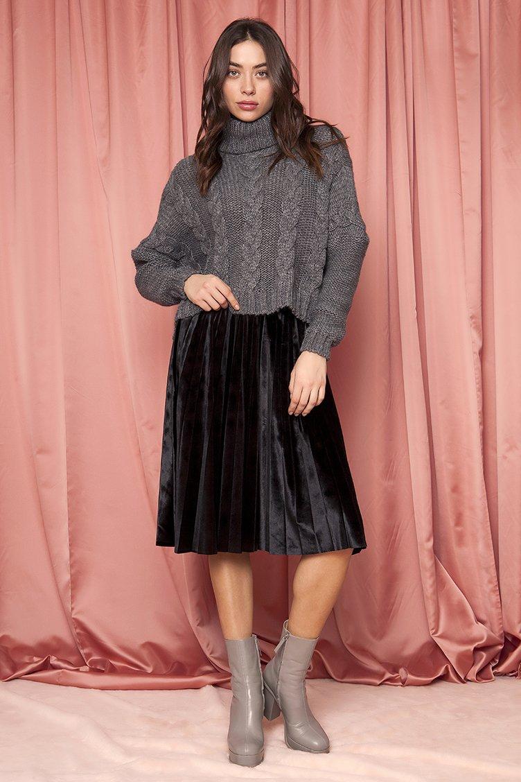 Velvet Plisse Midi Φούστα - CLOTHES -  Φούστες  2fb7f7d658e