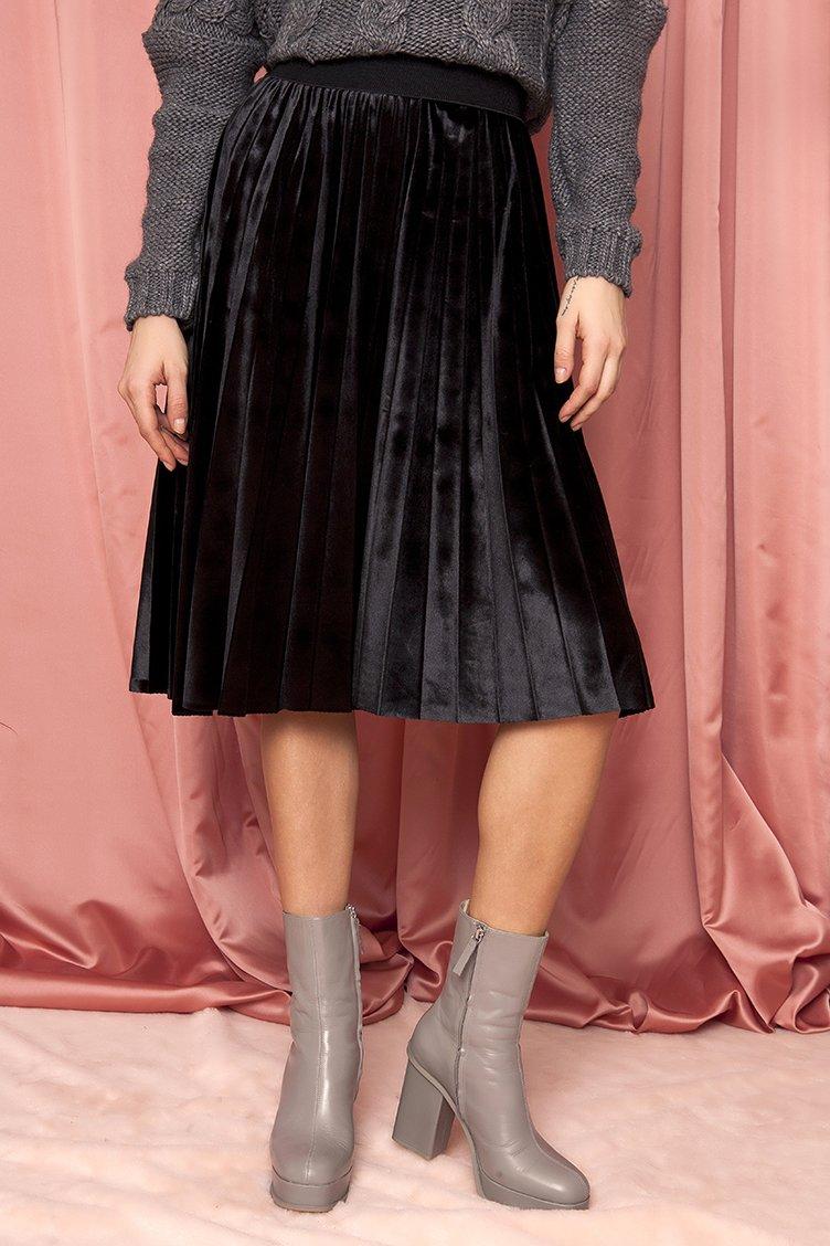 Velvet Plisse Midi Φούστα - Μαύρο 4962c733c14