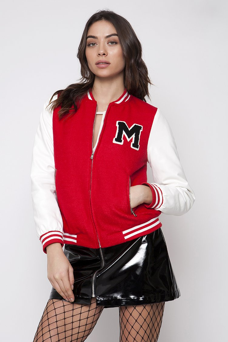 Baseball Bomber Jacket - Κόκκινο