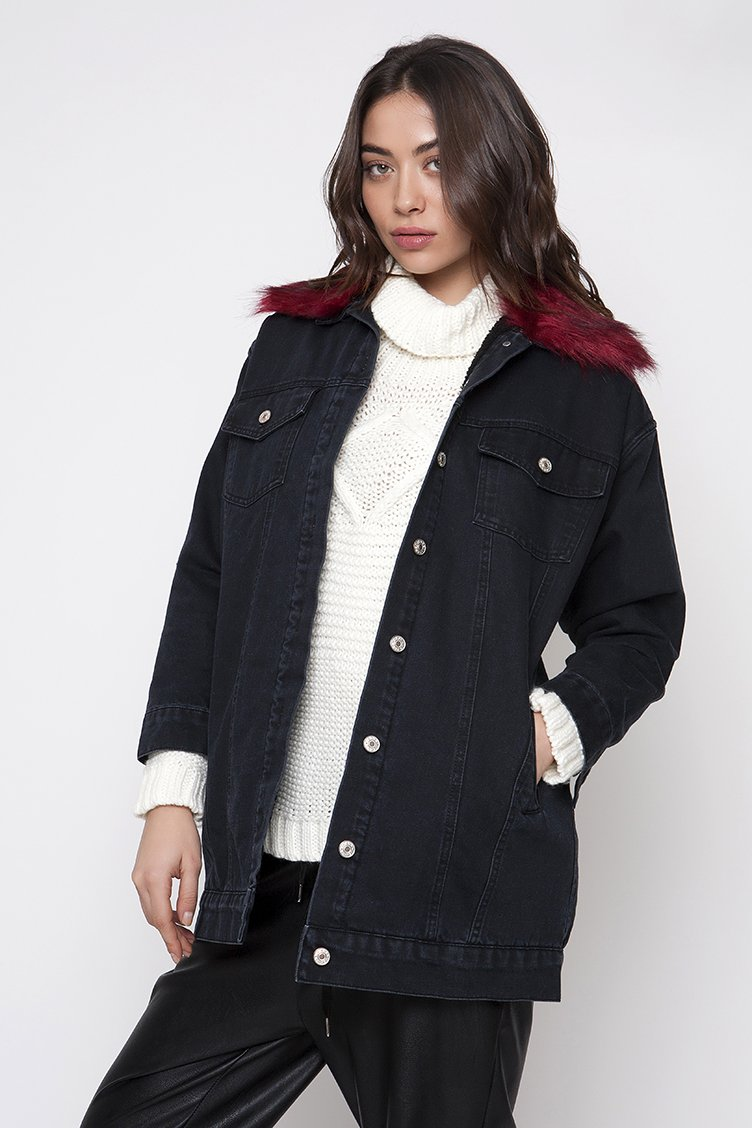 Oversized Denim Fur Jacket - Μαύρο