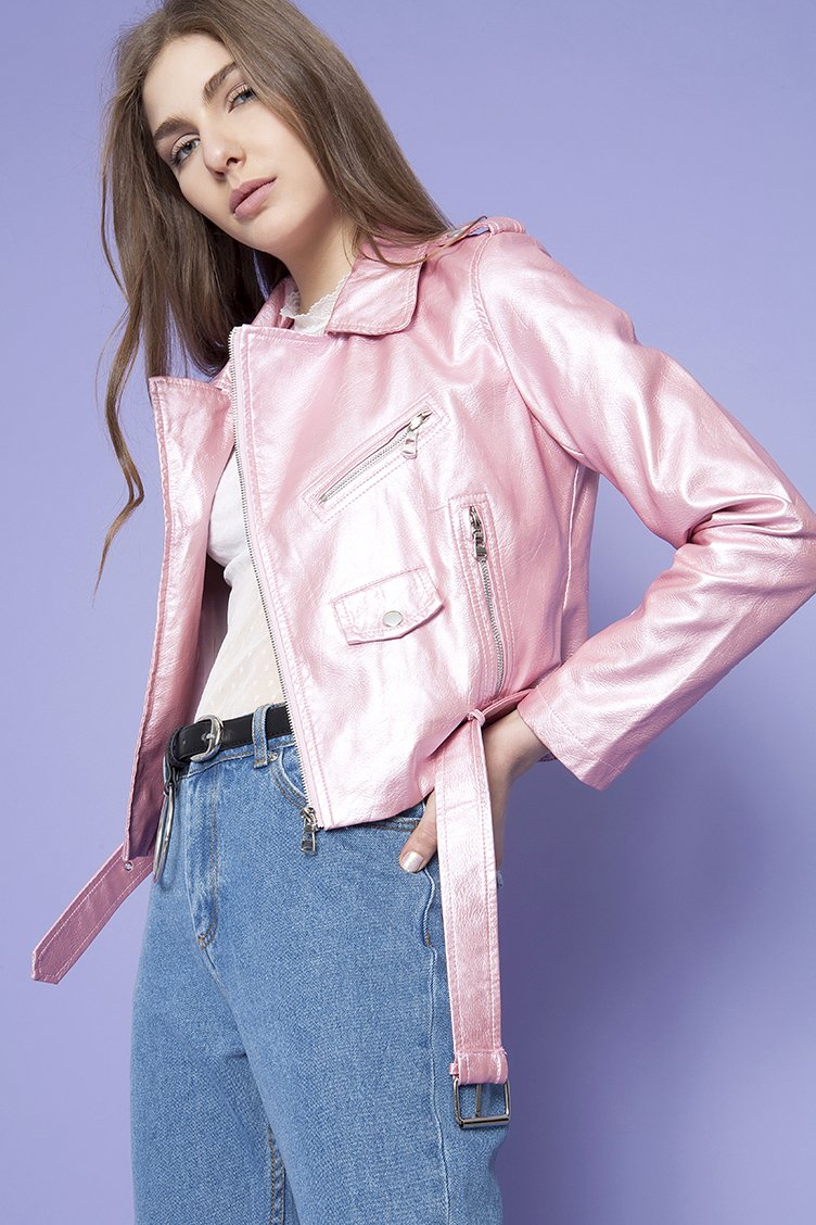 Pink Metallic Biker Jacket - Ροζ