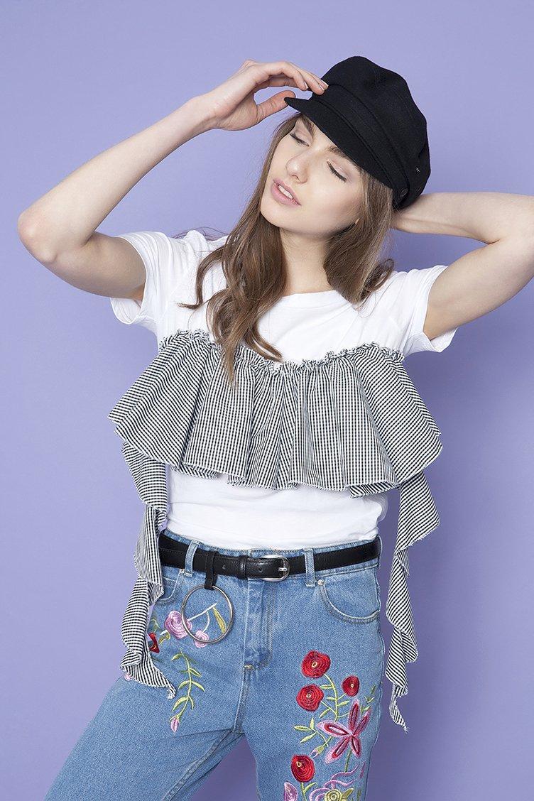 Gingham Frilled Detail T-shirt - Μαύρο clothes   tops   μπλούζες