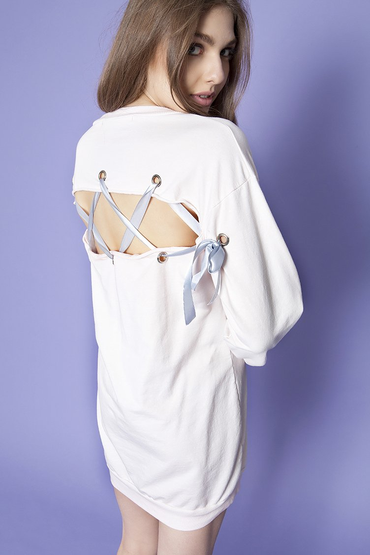 Lace Up Backless Sweatshirt - Ροζ