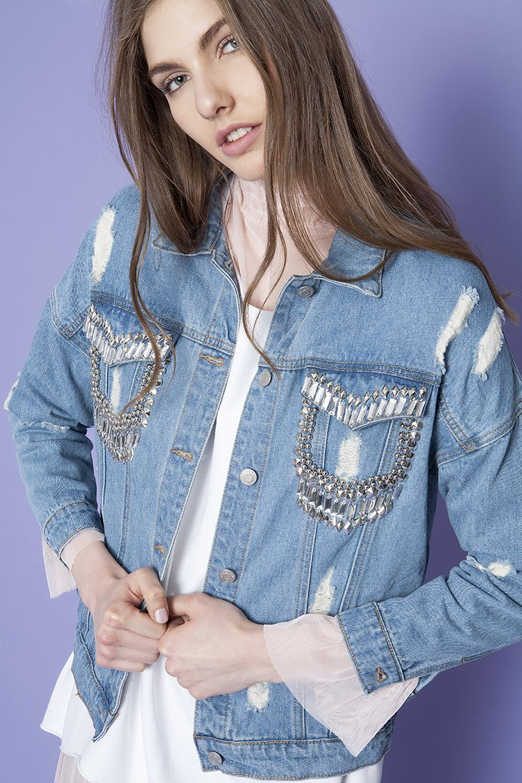 Ripped Denim Jacket - Μπλε