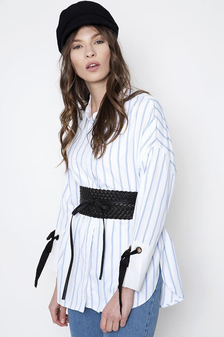 Stripped Oversize Πουκάμισο - Άσπρο clothes   tops   πουκάμισα