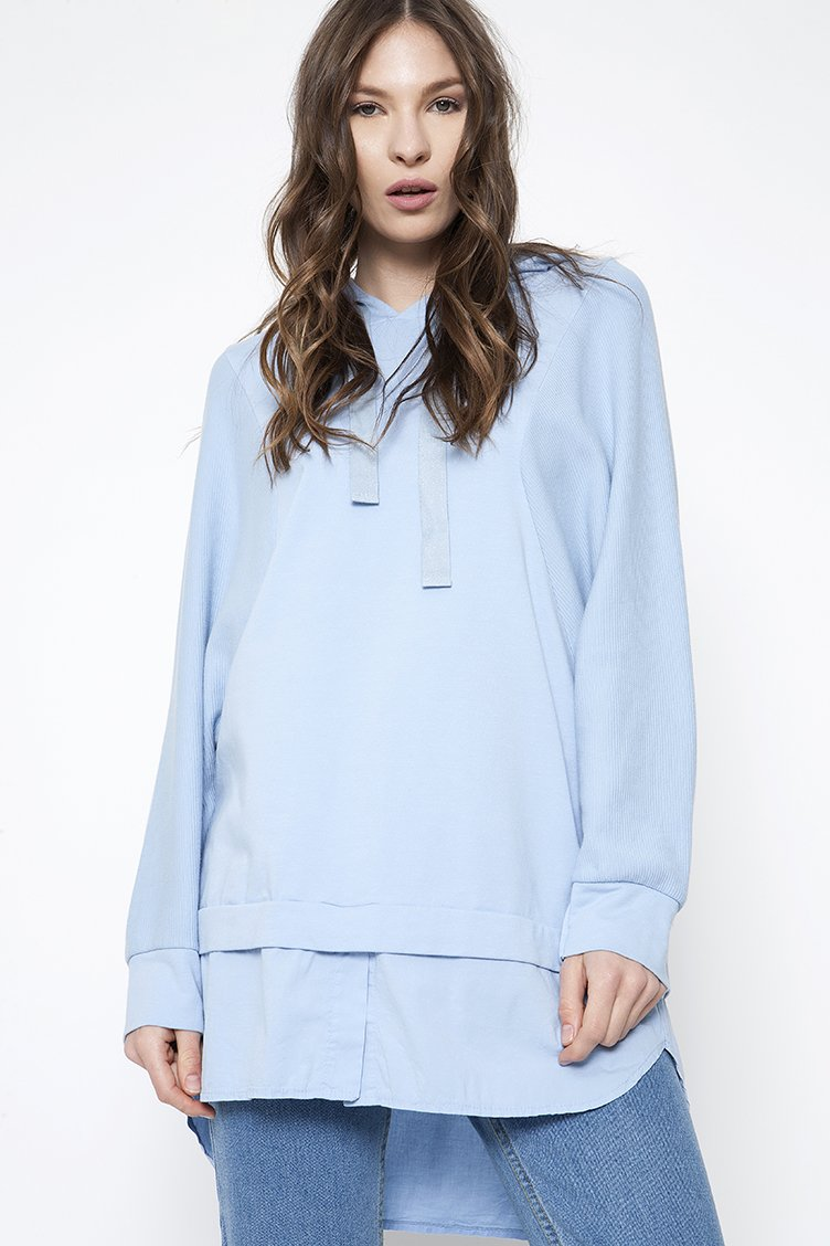 Oversized Bat Sleeve Sweatshirt - Σιέλ clothes   tops   φούτερ