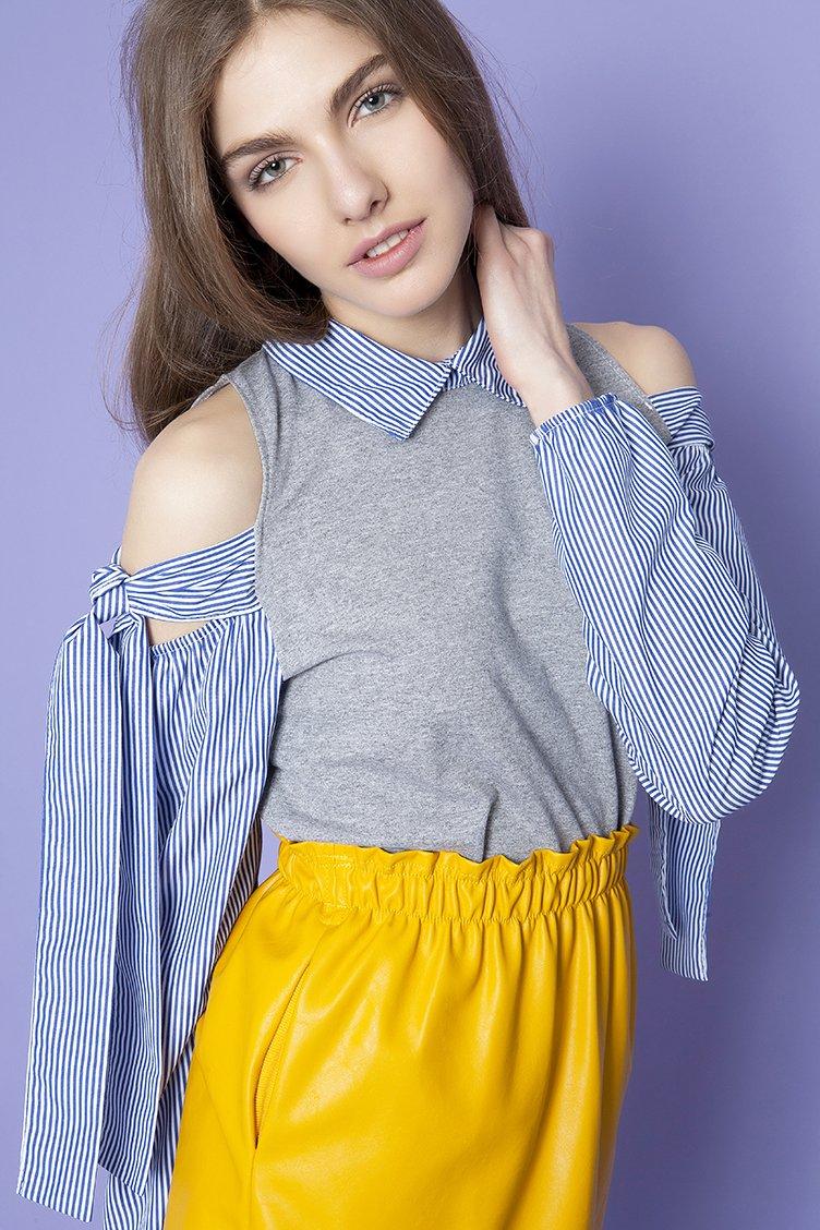 Shirt Sleeve Μπλούζα - Γκρι clothes   tops   φούτερ