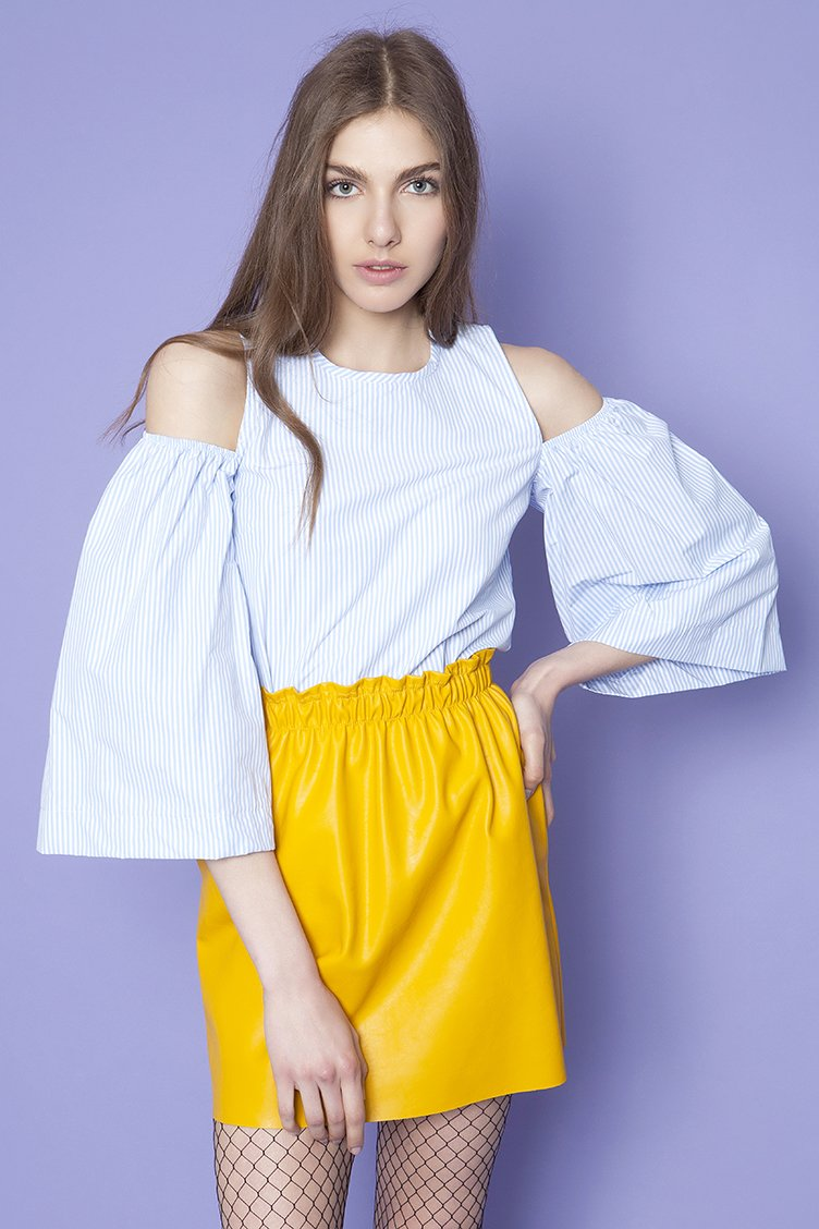 Flare Sleeve Πουκάμισο - Σιέλ clothes   tops   πουκάμισα