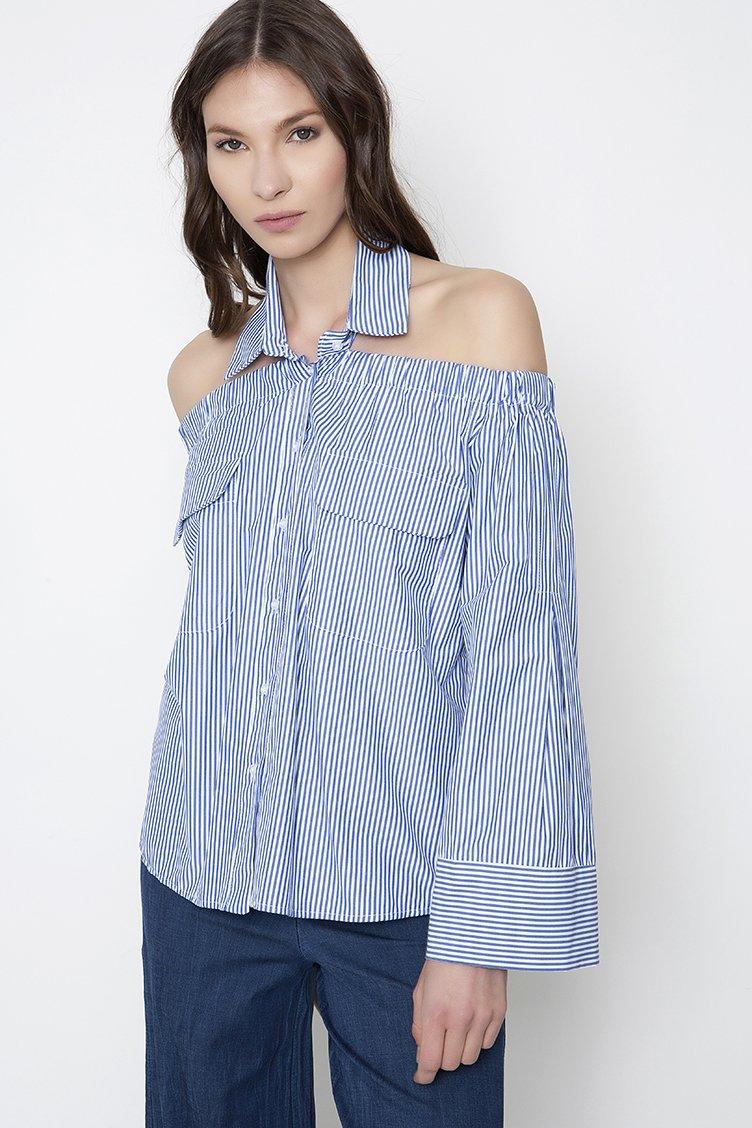 Off Shoulder Collar Shirt - Μπλε