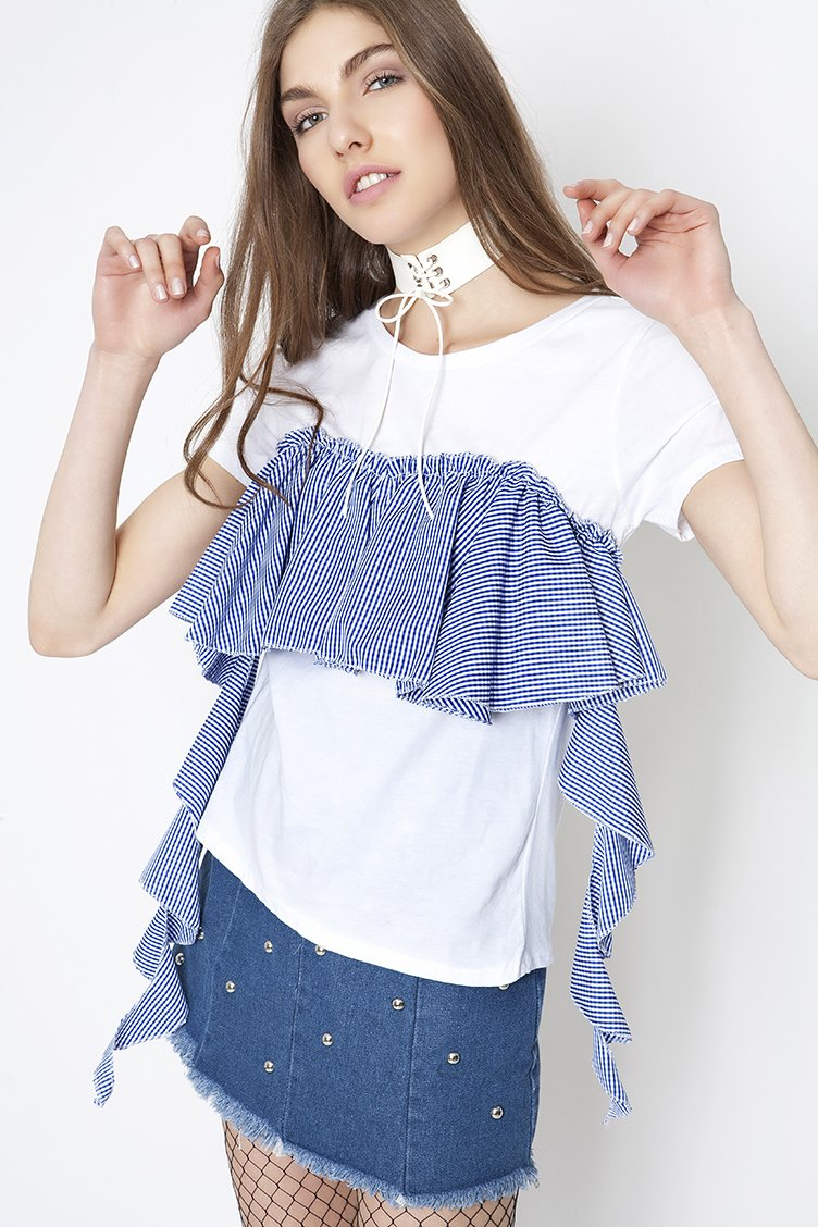 Gingham Frilled Detail T-shirt - Μπλε clothes   tops   μπλούζες