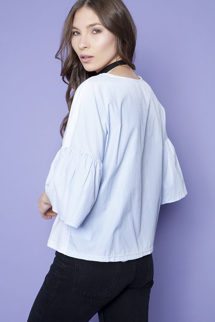 Stripped Flare Sleeve Μπλούζα - Άσπρο clothes   tops   μπλούζες