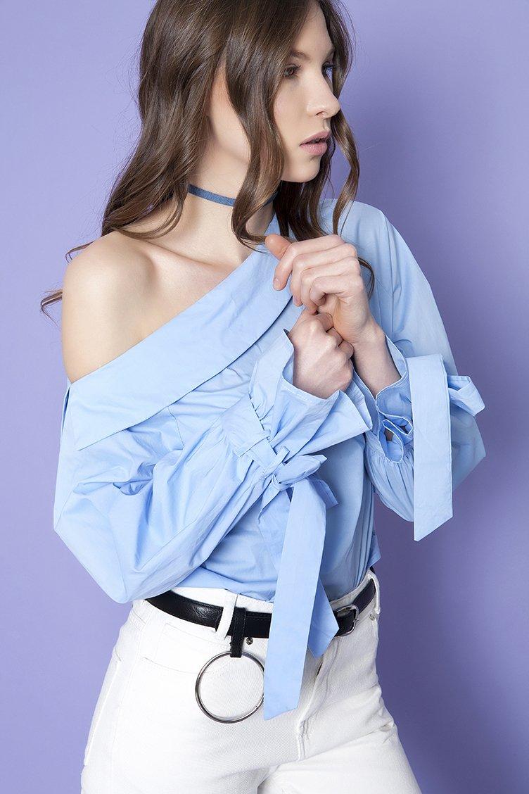 Off Shoulder Μπλούζα - Σιέλ clothes   tops   πουκάμισα