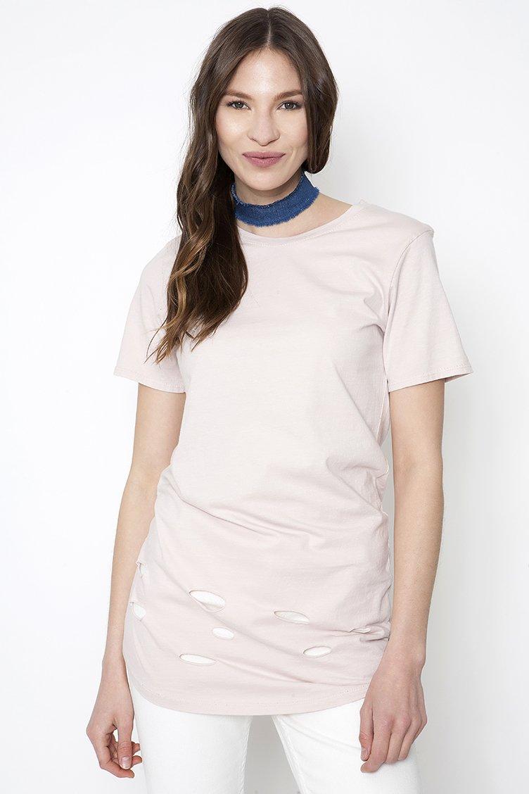 Ripped T-shirt - Ροζ