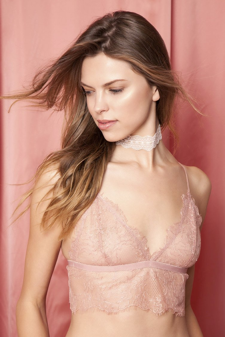 Chelsea Morning Pink Lace Bralette - Ροζ