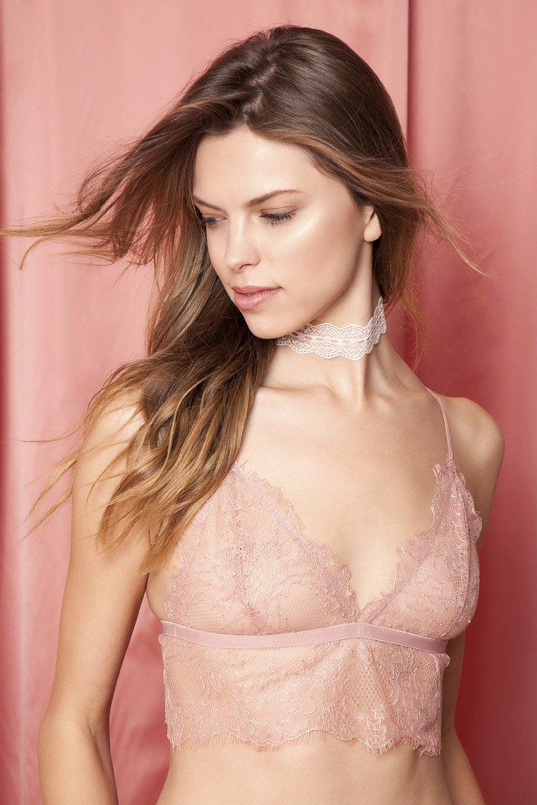 Chelsea Morning Pink Lace Bralette - Ροζ clothes   εσώρουχα