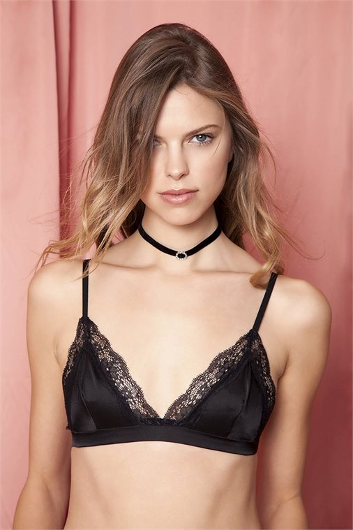 KISS FROM A ROSE BLACK SATIN BRALETTE